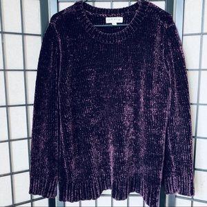 Orvis plum chenille Pull Over Crewneck sweater L